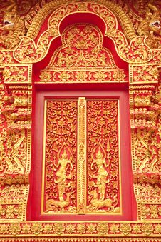 Free Traditional Thai Art Church Door Royalty Free Stock Image - 8952656