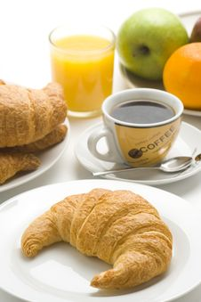 Free Continental Breakfast Of Coffee And Croissants Stock Images - 8952884