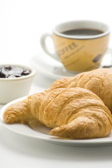 Free Continental Breakfast Of Coffee And Croissants Royalty Free Stock Photo - 8952935