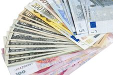 Euro, Dollars And Yuan - Different Banknotes Stock Photo