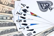 Free American Dollars And Poker Cards Royalty Free Stock Photos - 8954578