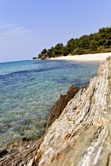Rocky Beach At Chalkidiki, Greece Stock Photography