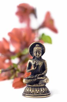 Free Isolated Buddah With Red Flowers Royalty Free Stock Photography - 8956667