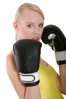 Woman In Boxing Gloves Stock Image