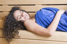 Free Woman In A Sauna With Towel Relaxing Stock Photos - 8957063