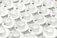 A Lot Of Cups For Coffee Or Tea On A Table With Sp Stock Images