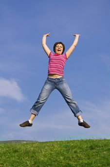 Free Young Happy Woman Jumping High Royalty Free Stock Photo - 8958035