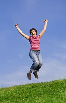 Free Young Happy Woman Jumping High Stock Images - 8958104