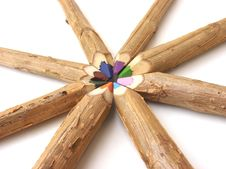 Handmade Color Pencil In Circle Royalty Free Stock Photo