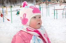 Free Little Girl On Winter Playground. Royalty Free Stock Photos - 8958518