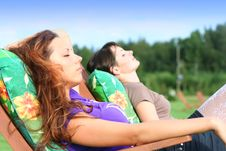 Free Girls Relaxing Outdoors Royalty Free Stock Photos - 8958538