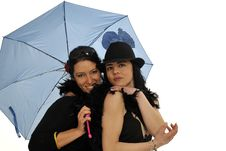 Free Two Friends Under Umbrella Royalty Free Stock Photography - 8959057