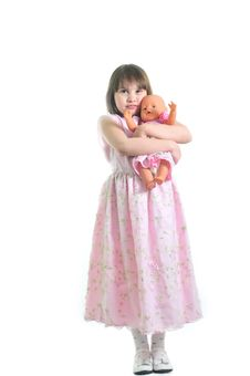Little Cute Girl With Doll Royalty Free Stock Photos