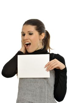Free Woman Holding Blank Sign Stock Photography - 8959622