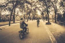 Free People Riding Bicycle Sepia Photography Stock Image - 89505561