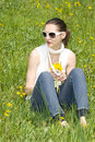Free Young Woman In Nature Holding Flowers Stock Photos - 8965673