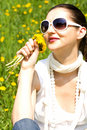 Free Young Woman In Nature Smelling Flowers Royalty Free Stock Image - 8966896