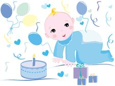 Free Baby Birthday Illustration Stock Photos - 8960283