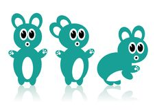 Three Aqua Rabbits Stock Photos