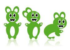 Three Green Rabbits Stock Photography