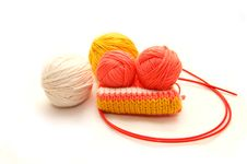 Set For Knitting On  White Background Royalty Free Stock Images