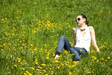 Young Woman With Sunglasses In Nature Royalty Free Stock Photos