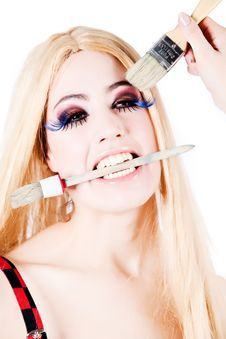 Long Heared Beauty With Make-up Brushes Stock Images