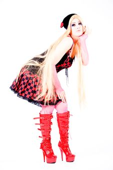 Girl With Long Hair Dressed Harajuku Style Royalty Free Stock Images