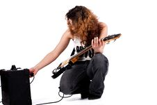 Free Posing And Playing With My Guitar Stock Image - 8964491
