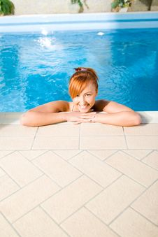 Free Young Happy Woman In Pool Stock Photo - 8964560