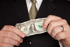 Businessman Holding Wrinkled Dollar Bill Stock Photography