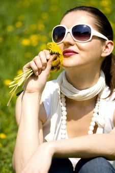 Free Young Woman In Nature Smelling  Flowers Royalty Free Stock Photo - 8965065