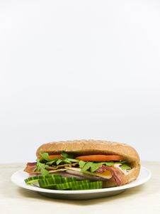 Free Fresh Sandwich On A White Plate Royalty Free Stock Images - 8965099