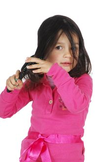 Free Little Cute Girl Brush The Hair Royalty Free Stock Photo - 8965365