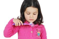 Free Little Cute Girl Brushing The Teeth Stock Images - 8965444