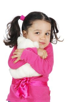 Free Little Girl Hugging A Teddy Bear Stock Photo - 8965490