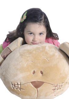 Little Girl Hugging A Teddy Bear Royalty Free Stock Image