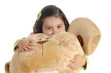 Little Girl Hugging A Teddy Bear Stock Photography