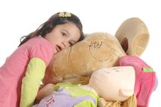 Free Little Girl Hugging A Teddy Bear Stock Image - 8965591