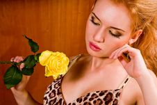 Young Woman With Yellow Rose Stock Images