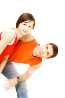 Free Young Couple Over White Stock Photo - 8966830