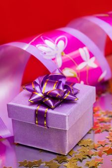 Violet Gift Box Stock Image