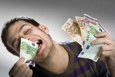 Free Happy Businessman With Bundle Of Euro Money Stock Photos - 8968123
