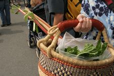 Free African Basket Filled With Produce - East Van Farmers  Market 21May2005 - 5 Stock Image - 89634021