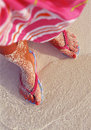 Free Woman S Feet On The Sand Royalty Free Stock Photos - 8972078