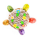 Free Easter Eggs And Cake Isolated On White Royalty Free Stock Photography - 8975077