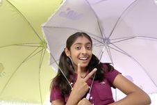 Free Girl Posing With Two Umbrella Stock Image - 8971821