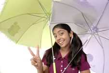 Free Girl Posing With Two Umbrella Stock Photography - 8971842