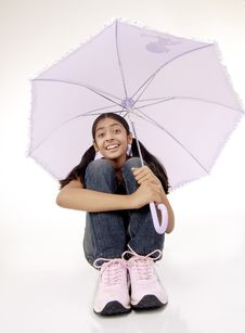 Portrait Of Beautiful Girl With Umbrella Stock Photography