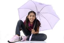 Portrait Of Beautiful Girl With Umbrella Stock Images